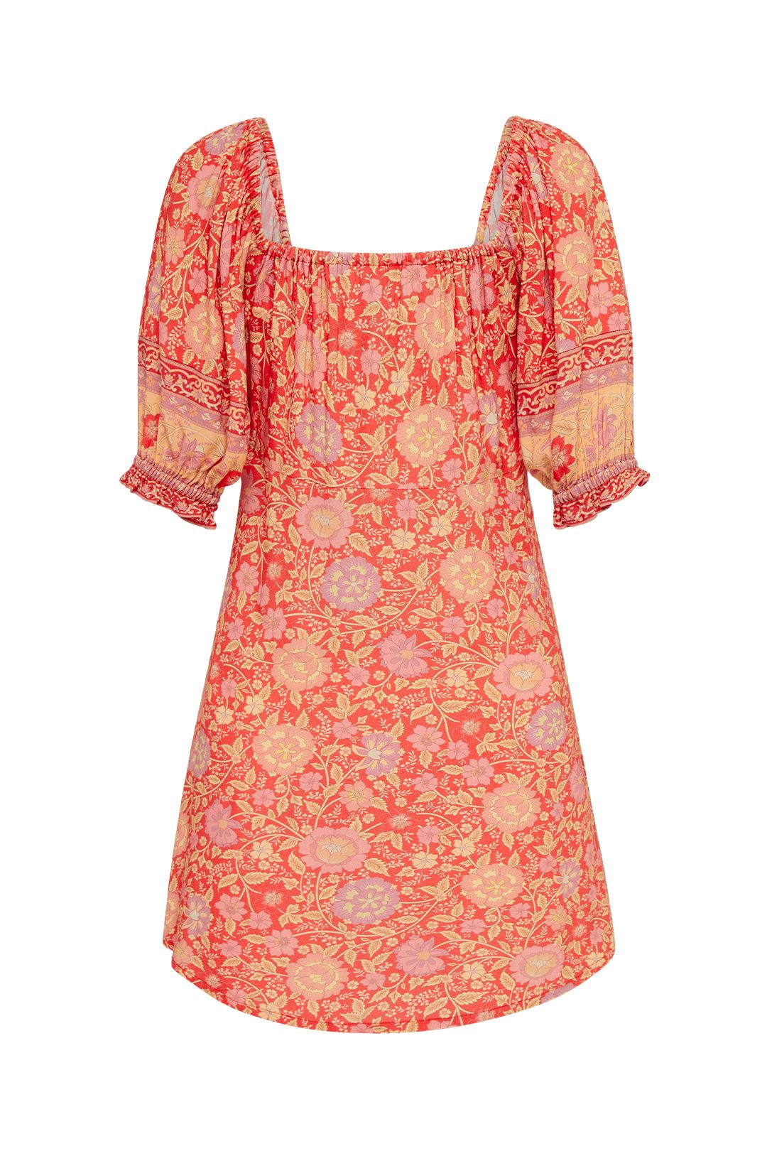 Spell Love Story Dress Red Coral Floral Blouson Sleeves