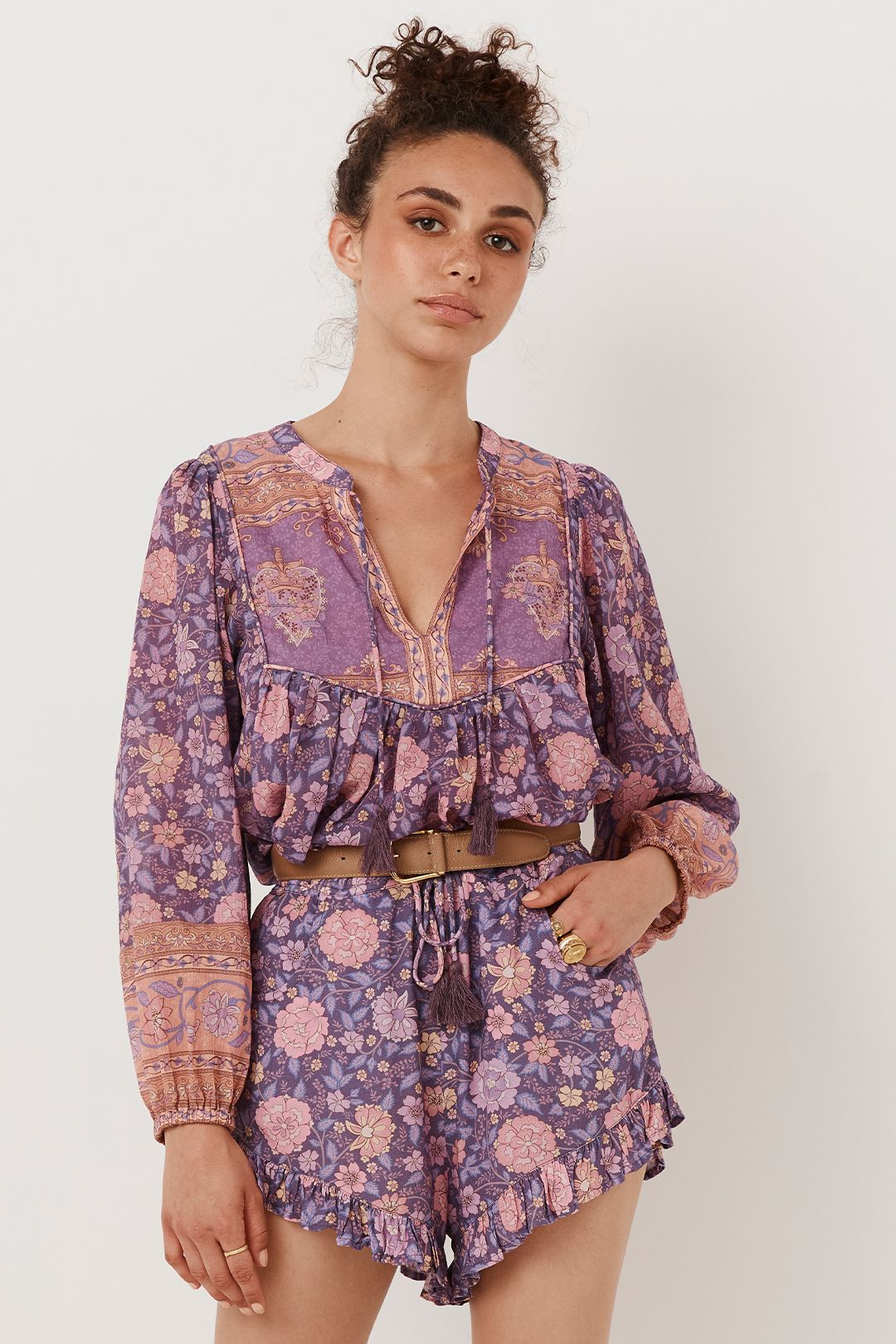 Spell Love Story Long Sleeve Blouse Royal Lilac Tie Neck