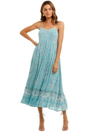 Spell Mystic Strappy Maxi Dress Turquoise Spaghetti Strap