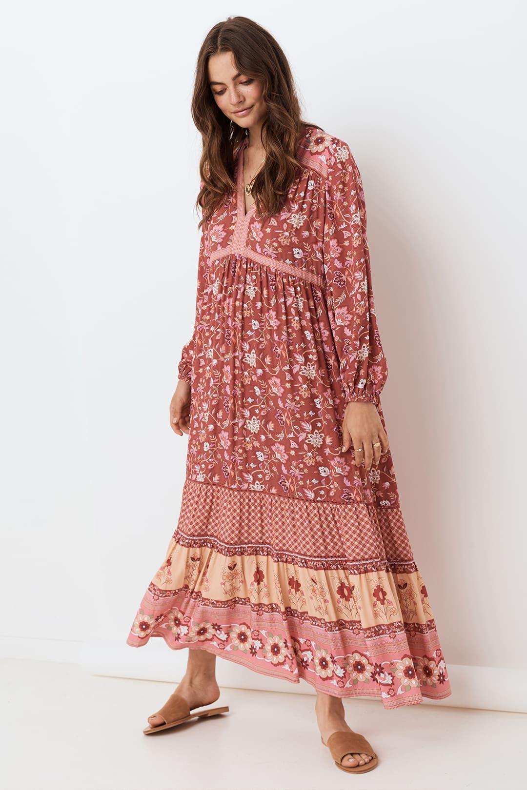 Spell Portobello Road Gown Wine Full Skirt