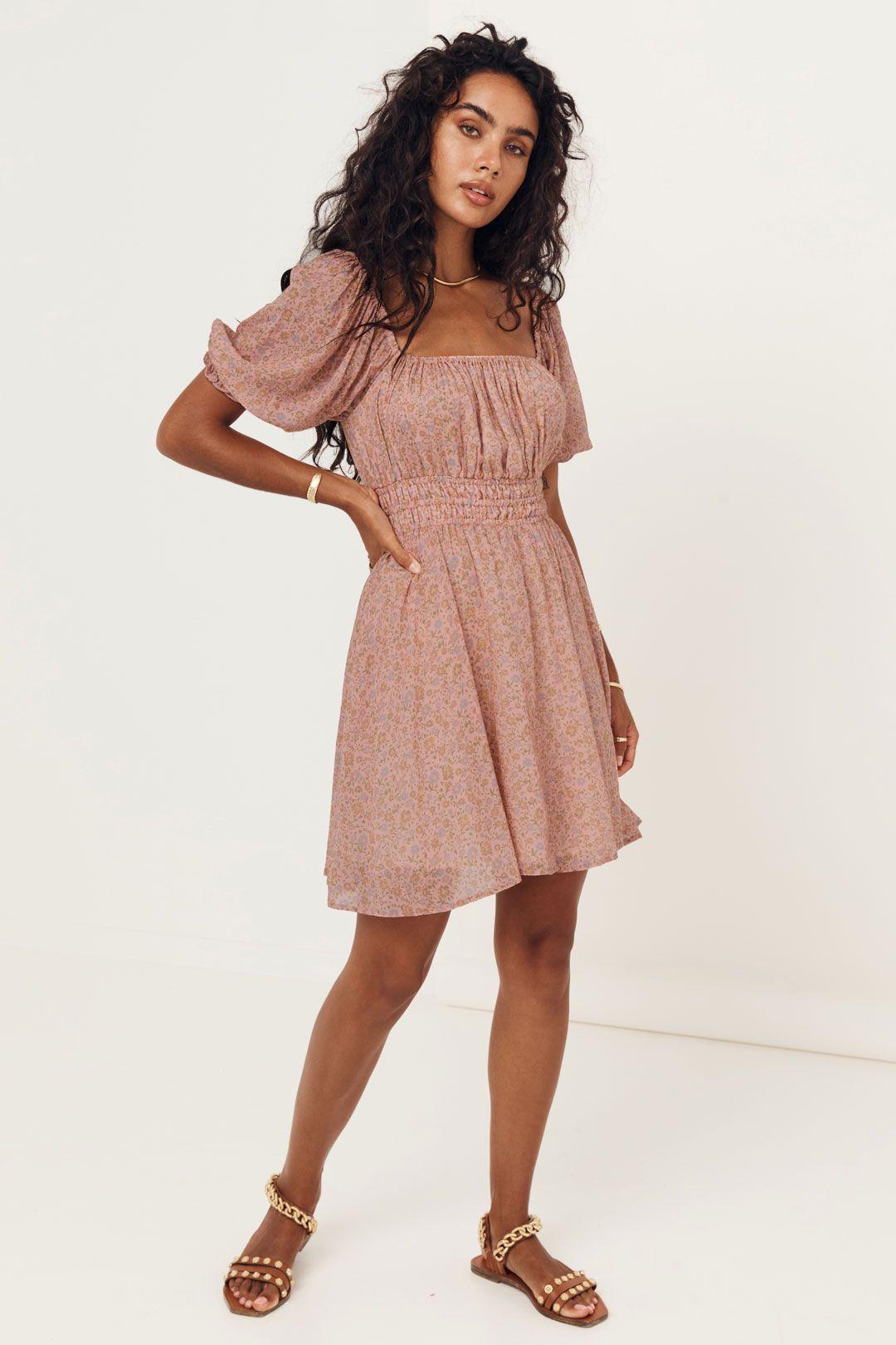 Spell Rae Mini Dress Straight Neckline