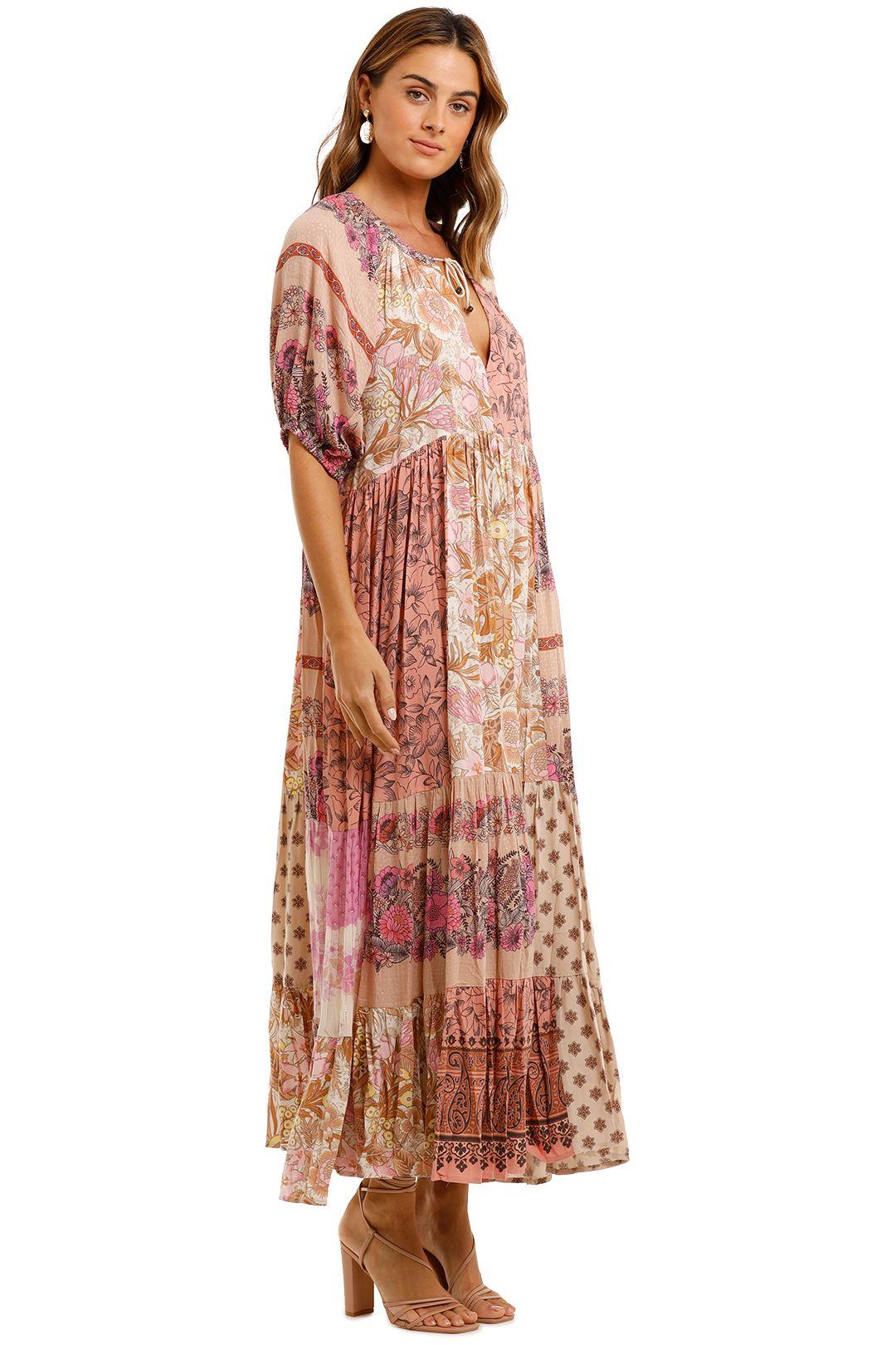 Spell Renew Patchwork Gown Blush tie neck