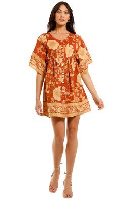 Spell Sloan Smock Mini Dress Ochre