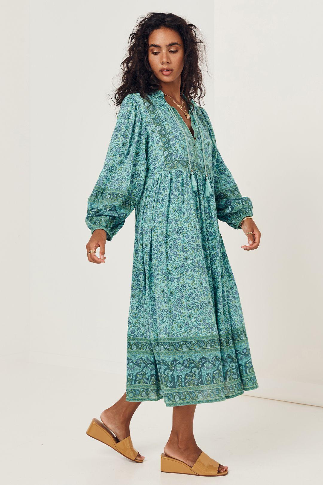 Spell Sundown Boho Dress Turquoise Long Sleeves
