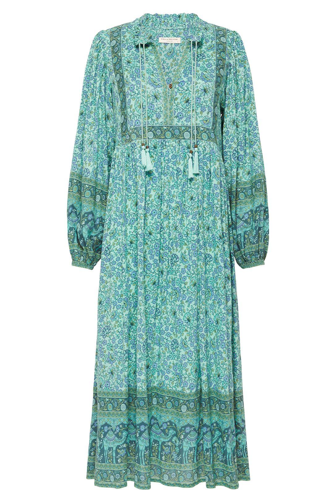 Spell Sundown Boho Dress Turquoise Maxi Length