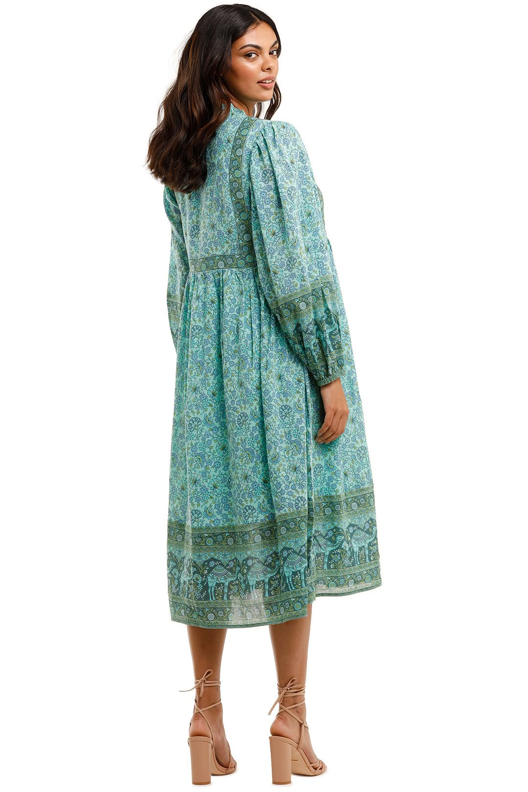 Spell Sundown Boho Dress Turquoise Tie Neck