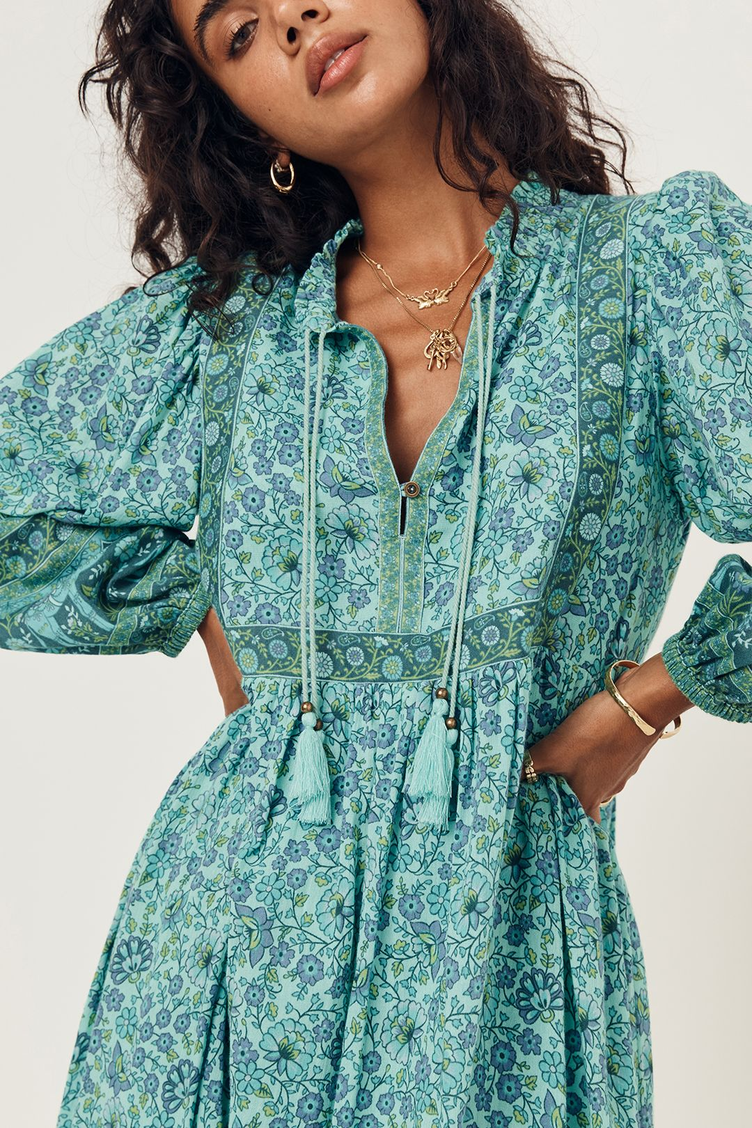 Spell Sundown Boho Dress Turquoise V Neck