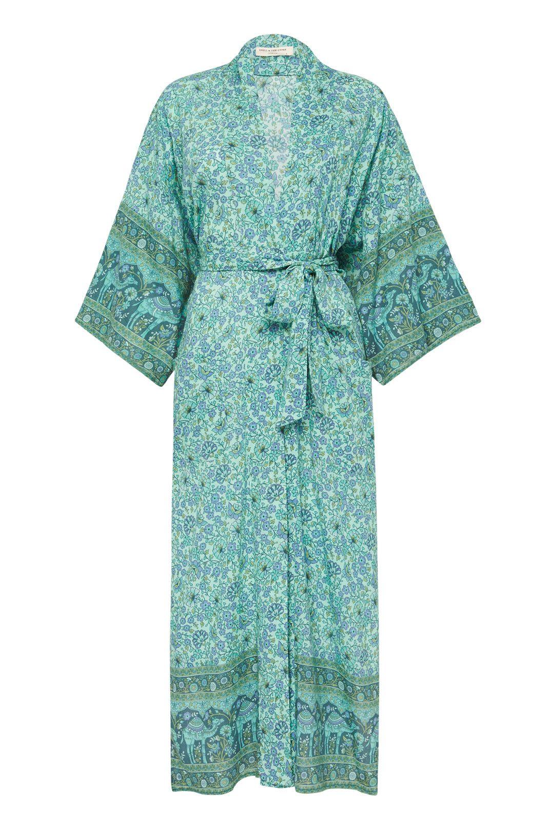 Spell Sundown Maxi Robe Turquoise Tie Belt