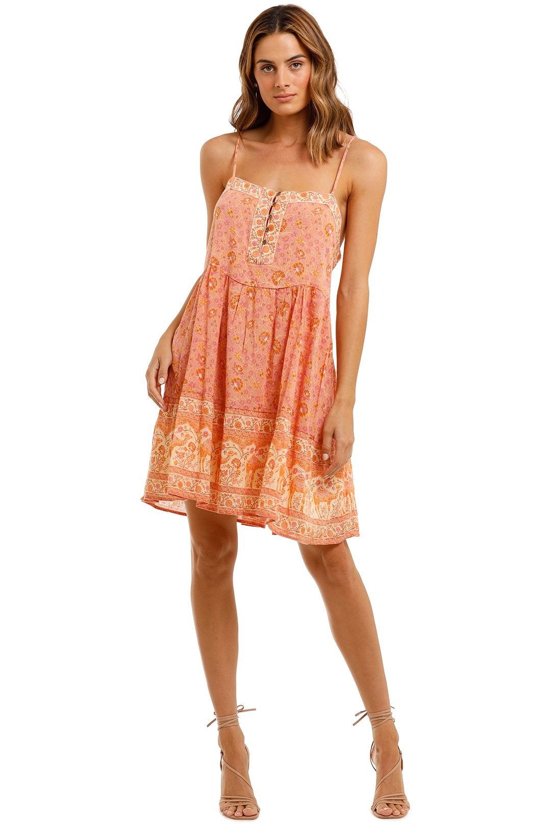 Spell Sundown Strappy Mini Dress Apricot Spaghetti Strap