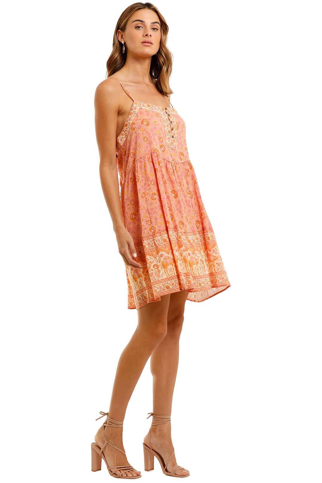 Spell Sundown Strappy Mini Dress Apricot