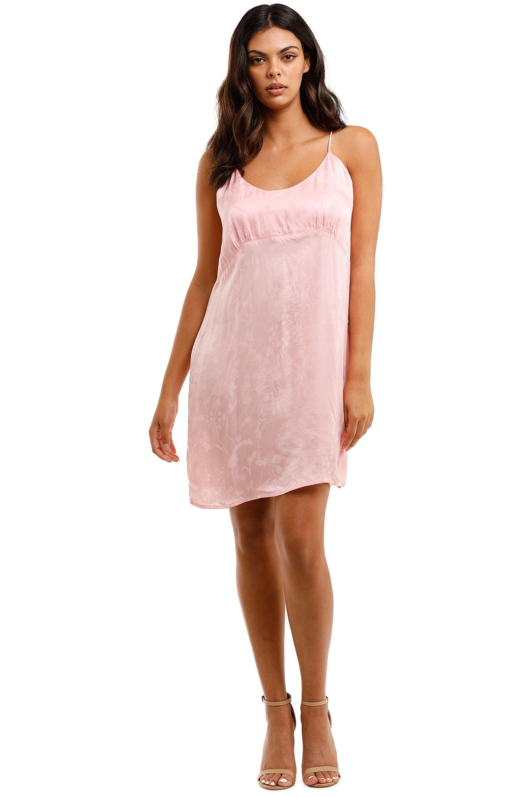 Spell Verona Mini Slip Dress 90s Pink Scoop Neck