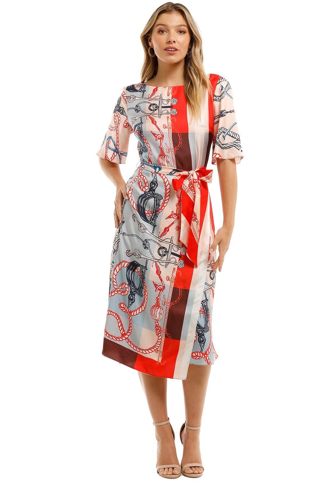 ST. JOHN Mariner Print Silk Twill Midi Dress