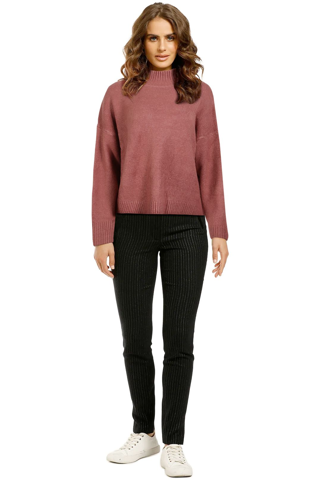 Staple-The-Label-Mock-Neck-Jumper-Rose-Front