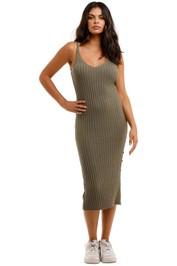 Staple The Label Cresent Knit Midi Dress V-Neckline