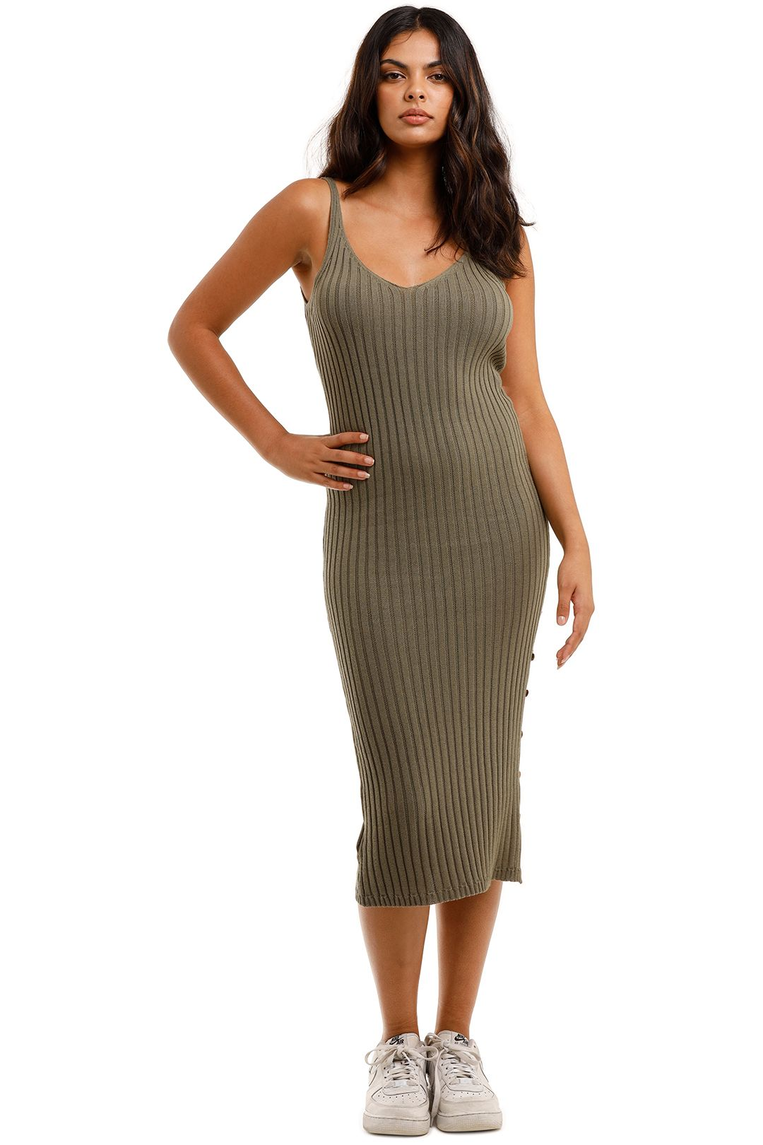 Staple The Label Cresent Knit Midi Dress V-Neckline