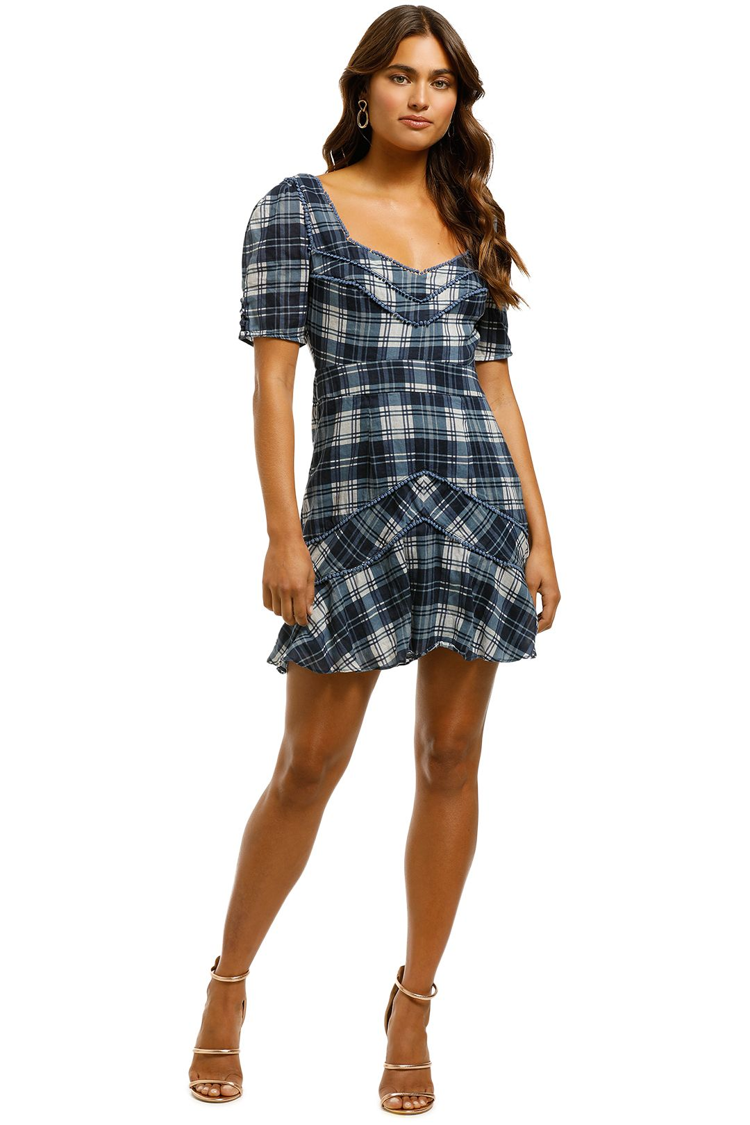 Stevie-May-Devon-Mini-Dress-Navy-Plaid-Print-Front