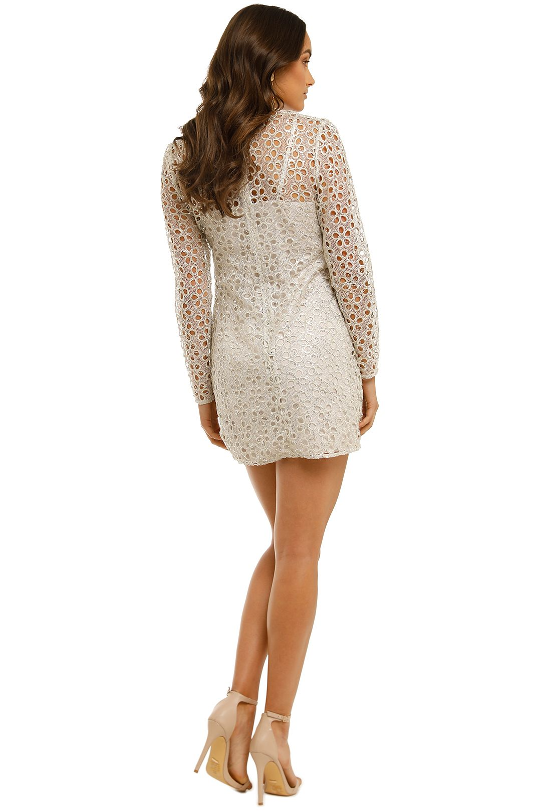 Stevie May-Concord-LS Mini-Dress-Silver-Back
