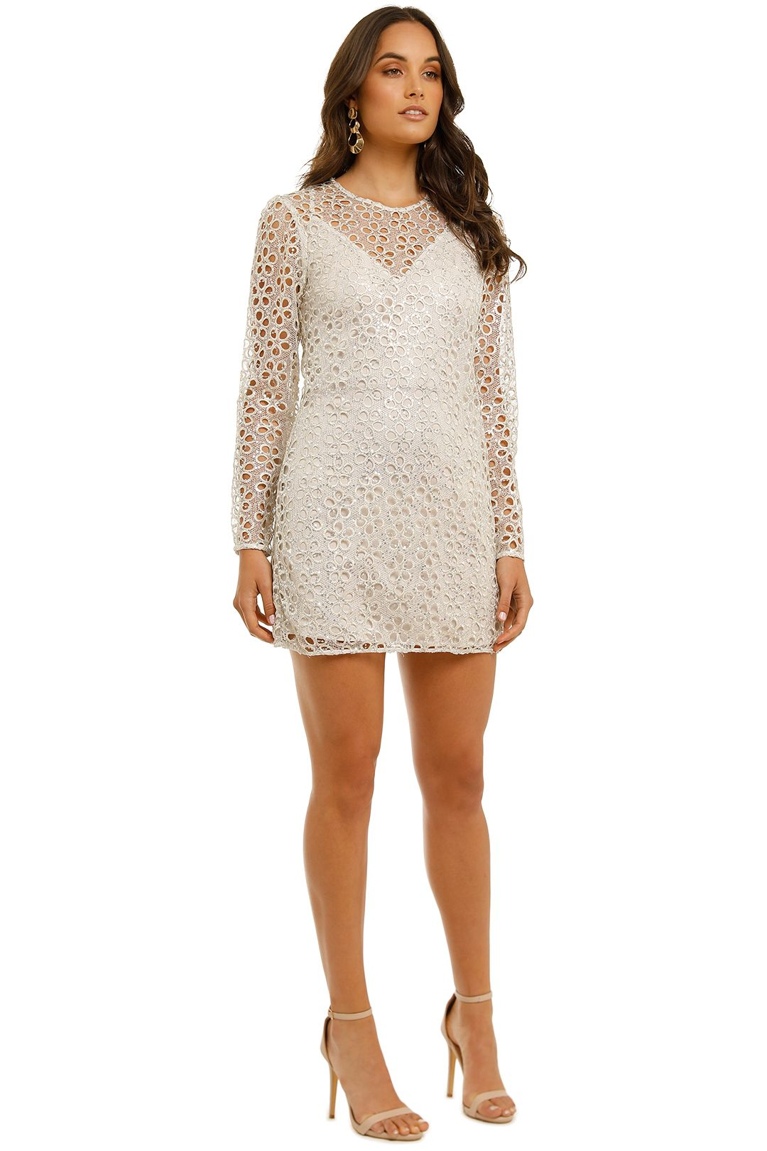 Stevie May-Concord-LS Mini-Dress-Silver-Side
