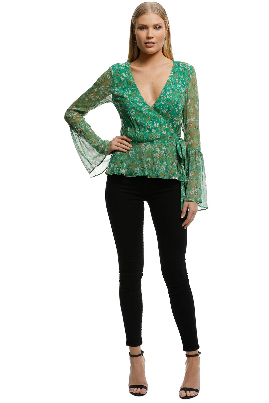 Stevie May - Jade Valentine LS Top - Floral Green - Front