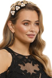 Studio Aniss - Stella Fascinator - Gold Black - Side Model