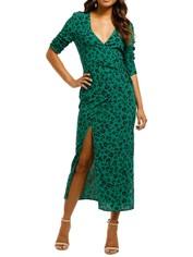 Suboo-Leopard-Lights-Maxi-Wrap-Dress-Green-Front