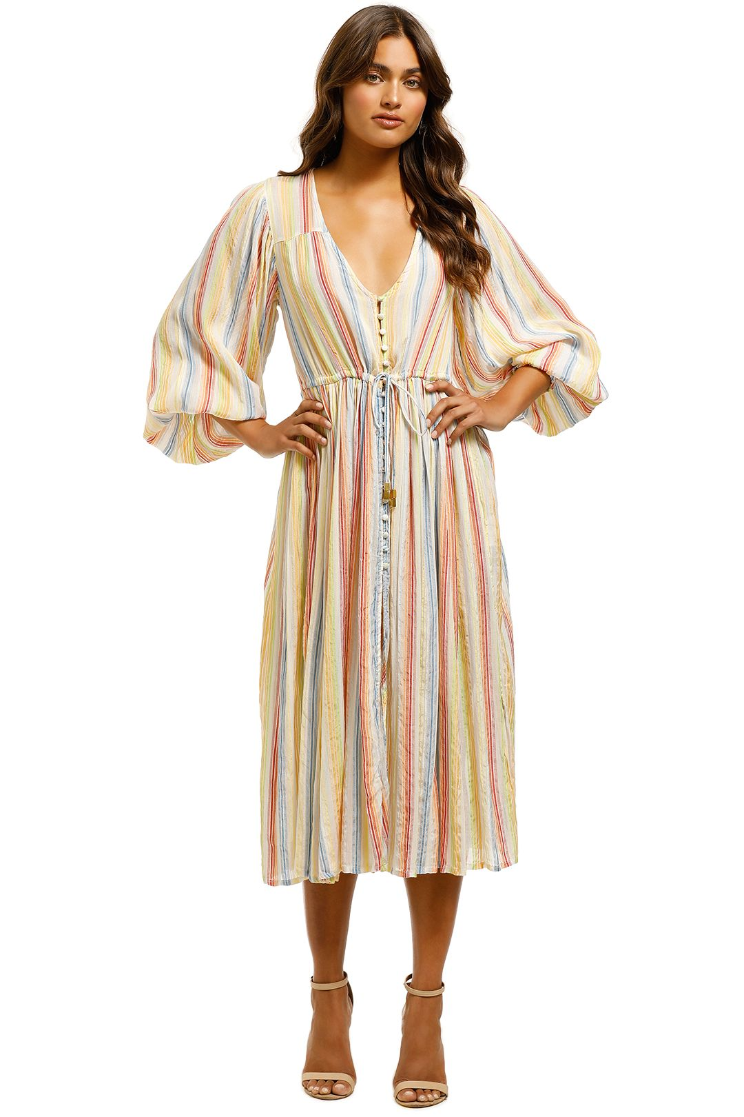 Suboo - Playhouse Balloon Sleeve Midi - Stripe Multi - Front