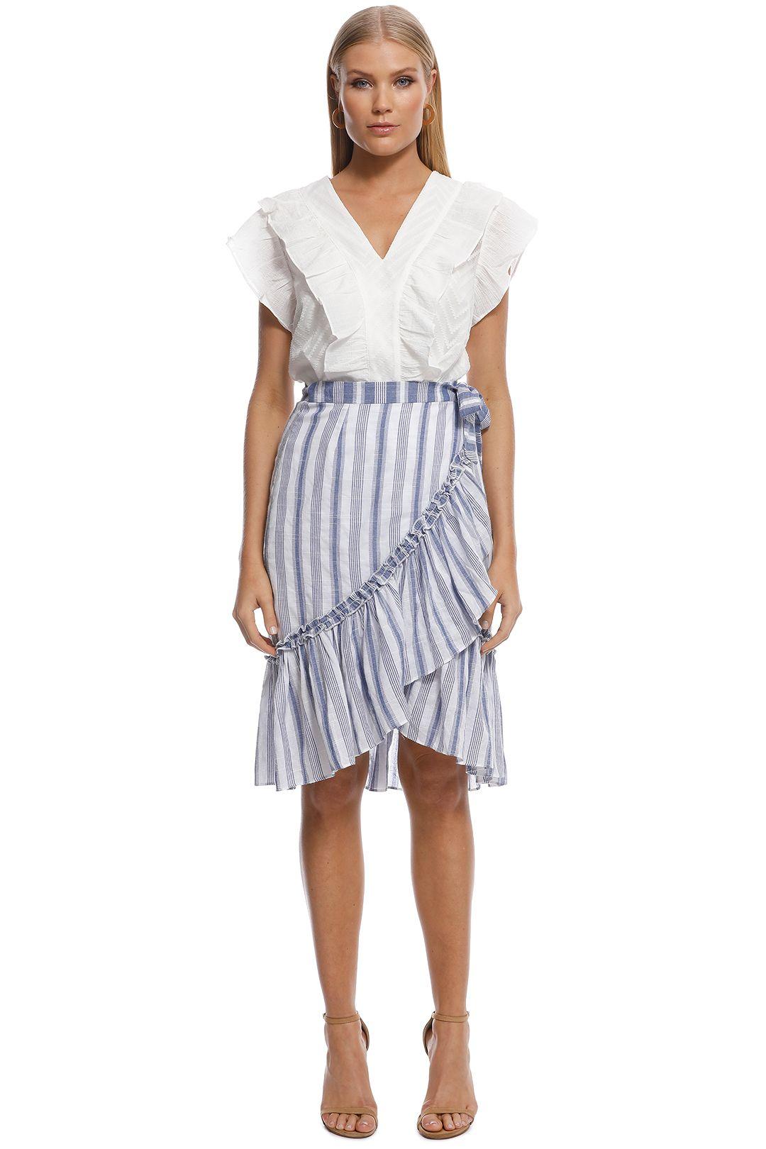 Suboo - Wrap Midi Skirt - Blue White Stripes - Front