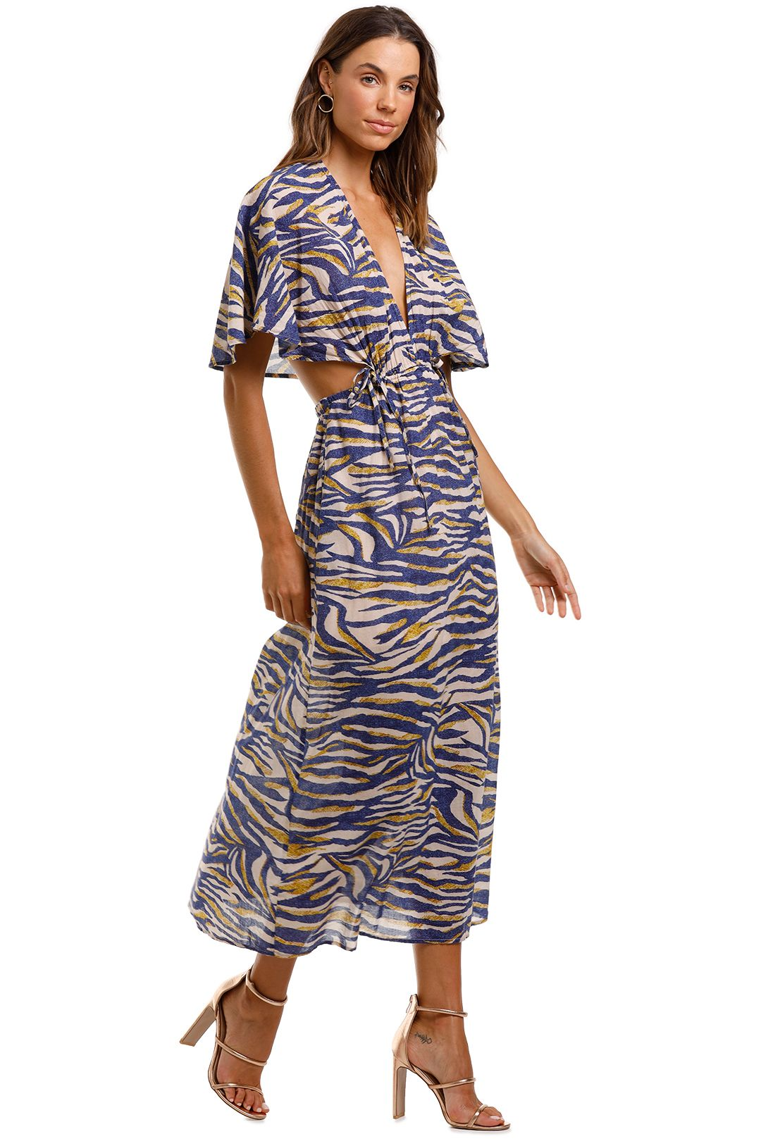 Suboo Into The Wilds Cape Dress Animal Print Maxi