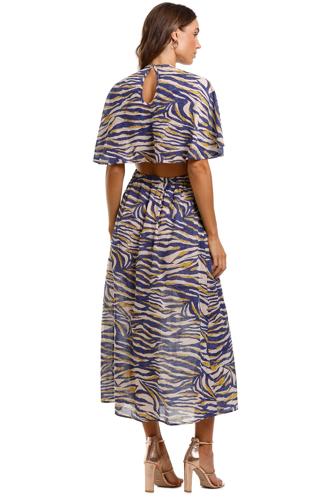 Suboo Into The Wilds Cape Dress Animal Print Open Back