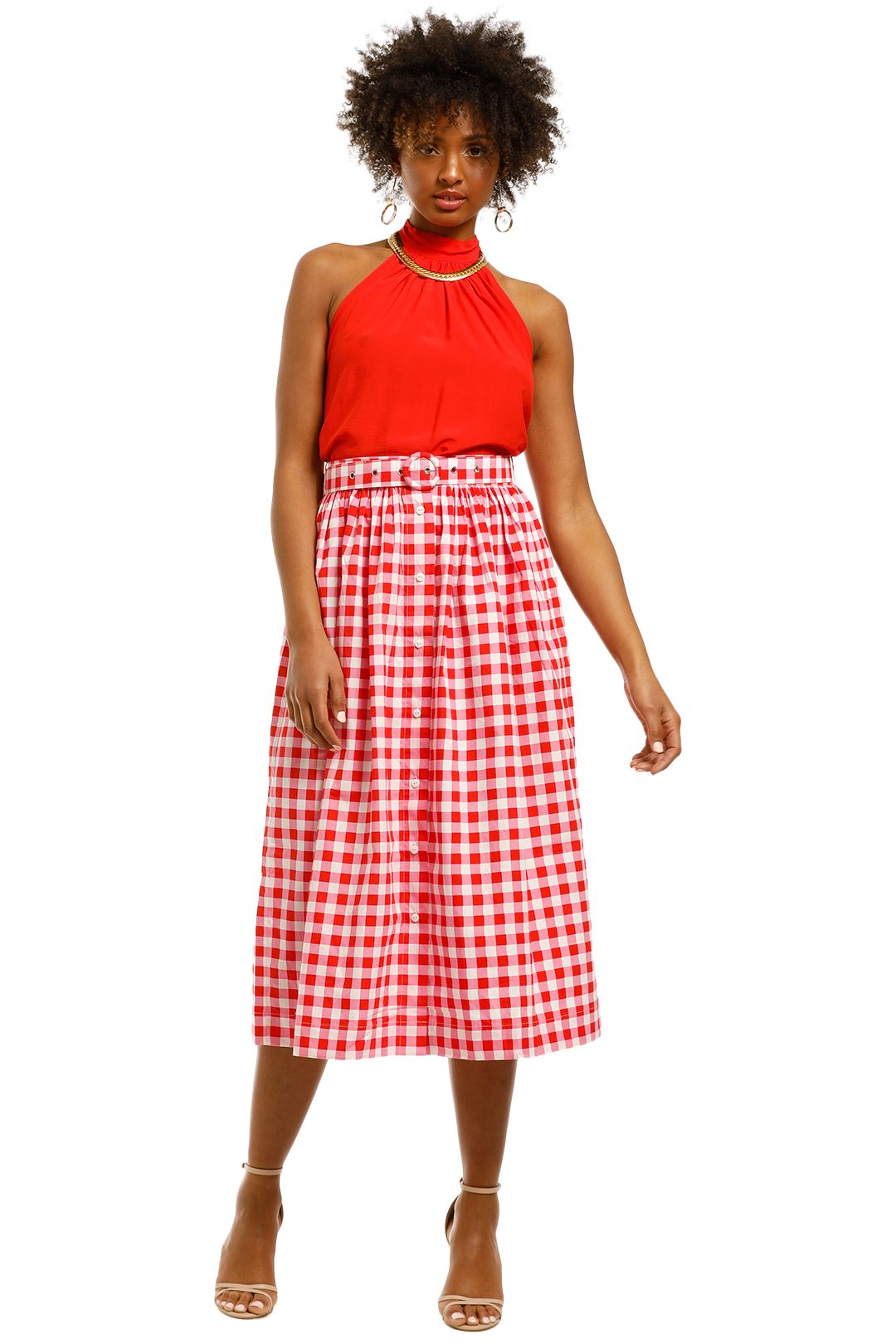 SWF-Button-Down-Midi-Skirt-Gingham-Floss-Front