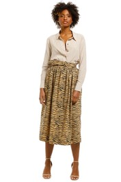 SWF-Button-Down-Midi-Skirt-Tifer-Print-Front