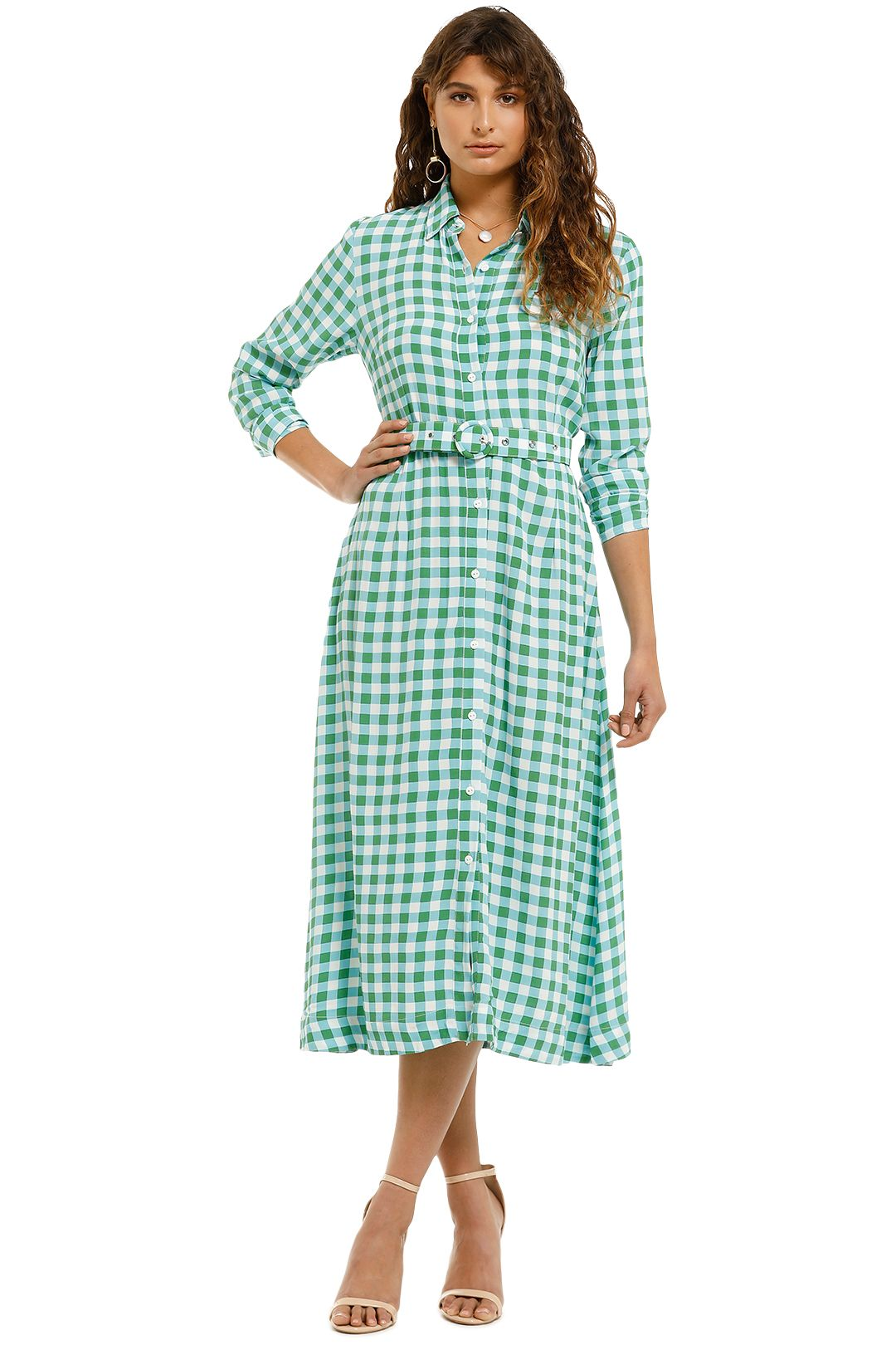 SWF-Long-Sleeve-Shirt-Dress-Gingham-Mint-Front