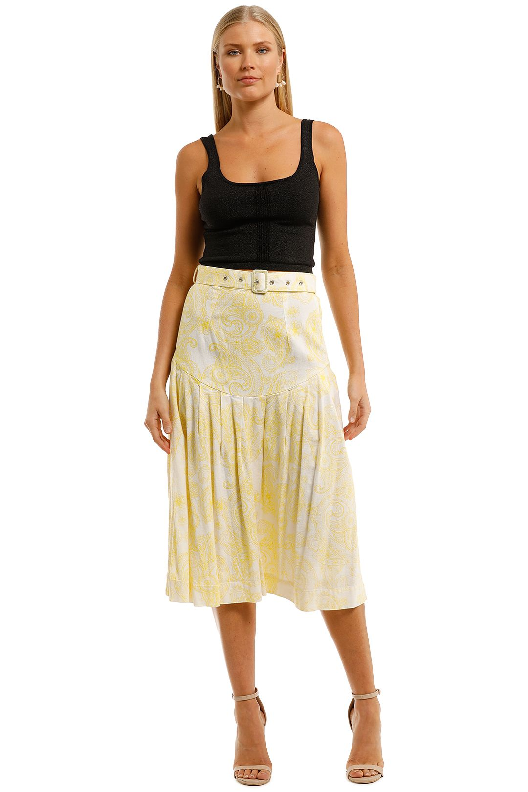 SWF-Paisley-Lemon-Midi-Skirt-Yellow-Front