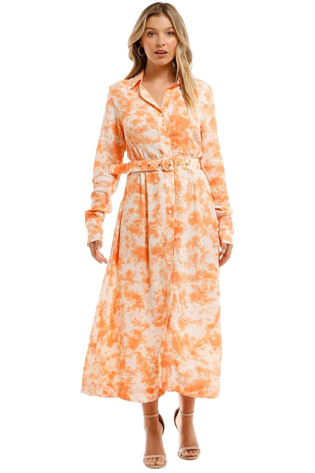 SWF Long Sleeve Shirt Dress Print Midi Collar