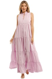 SWF Ruffle Tiered Maxi Dress Purple Sleeveless
