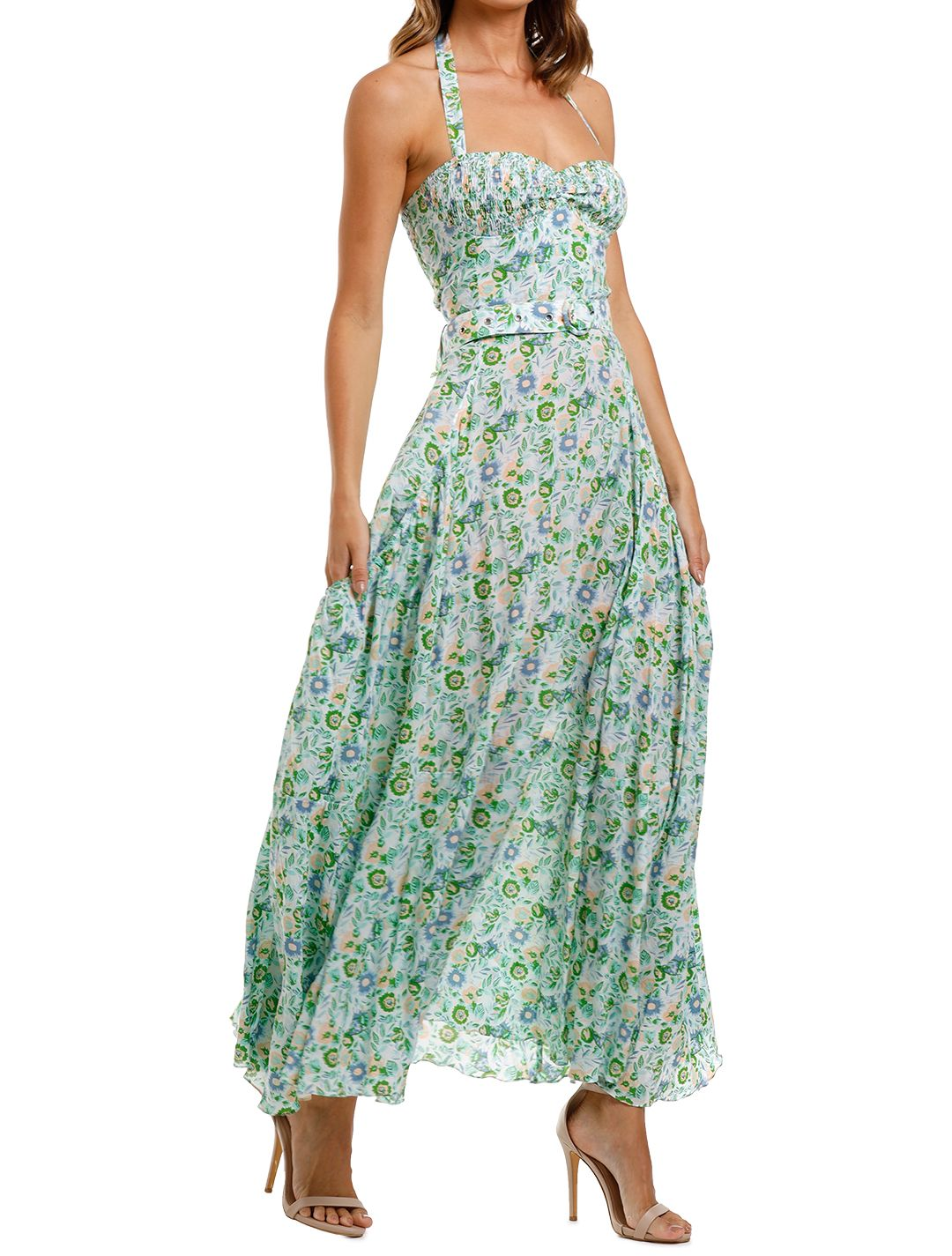 SWF Tier Tie Maxi Floral sleeveless belted