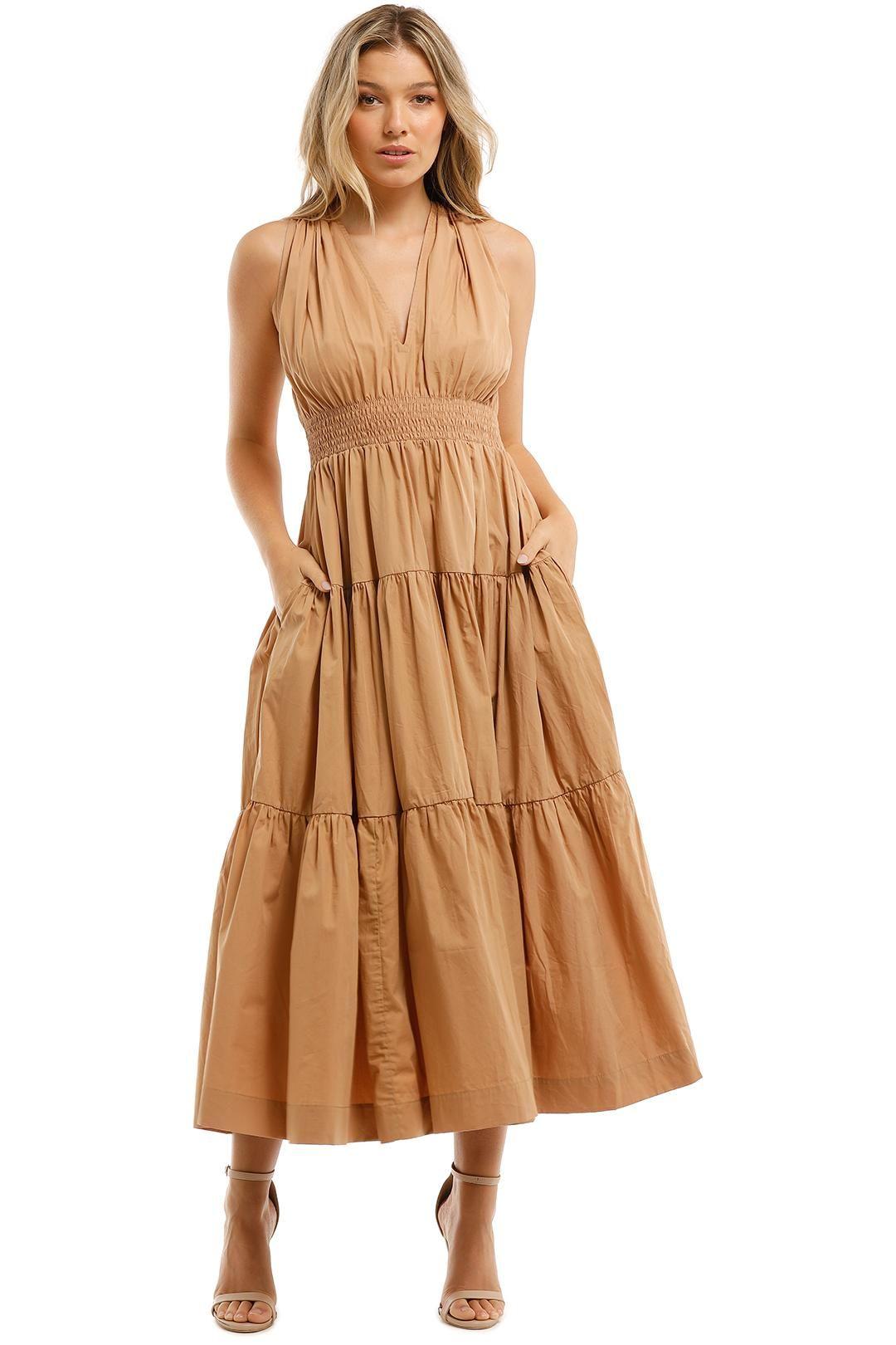 SWF Tiered Maxi Dress Brown Shirred