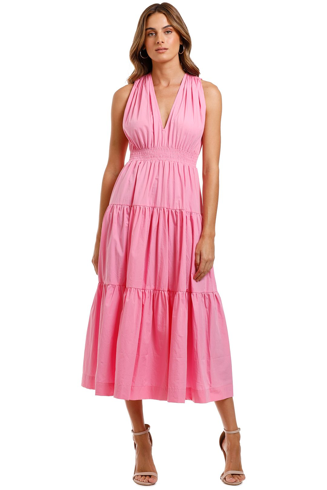 SWF Tiered Maxi dress Pink v neck