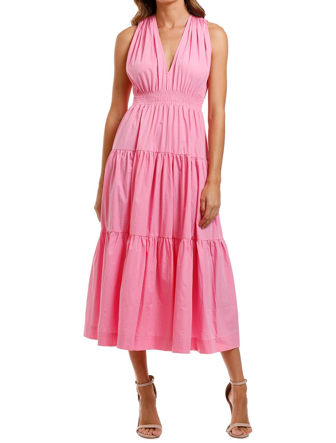 SWF Tiered Maxi dress Pink v neck