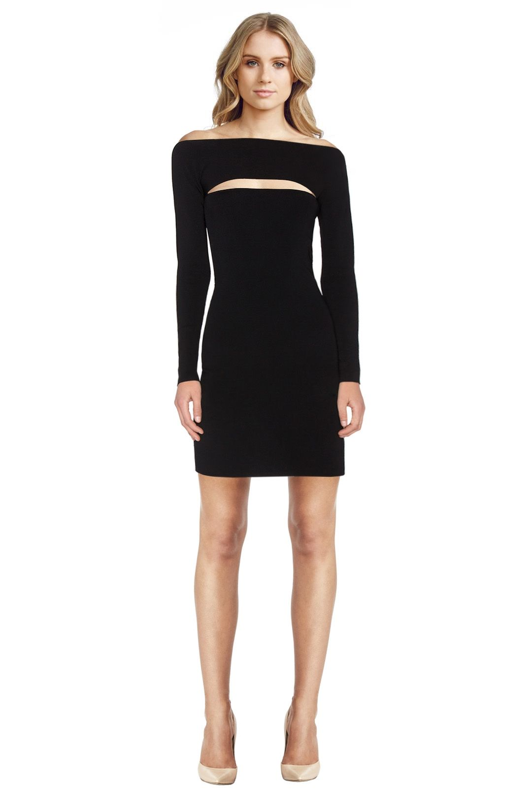 T by Alexander Wang - Needle Knit Long Sleeve Dress - Black - Front