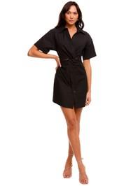 T by Alexander Wang Poplin Shirt Dress with Twist Black