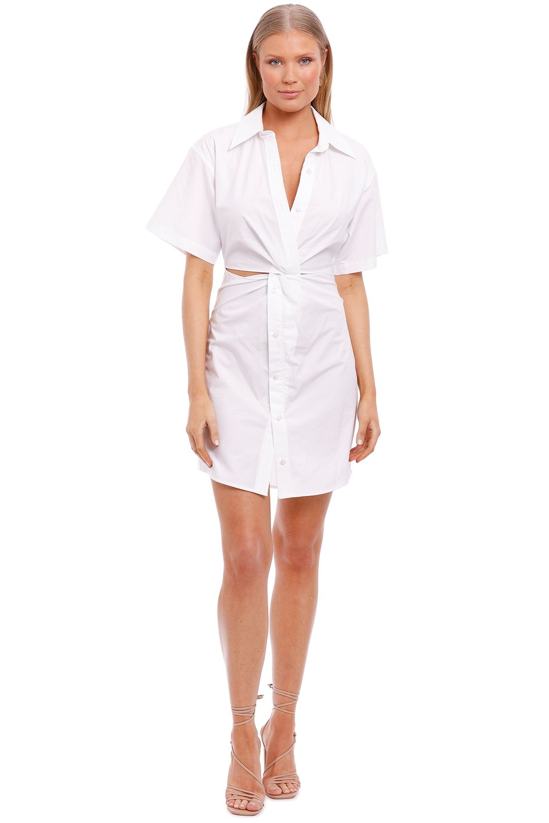 T by Alexander Wang Poplin Shirt Dress with Twist White cuout