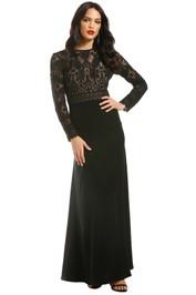 Tadashi-Shoji-Benes-Long-Sleeve-Gown-Black-Front