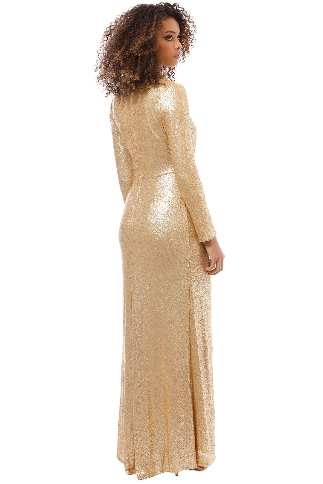 Tadashi Shoji - Angelique Gold Drape Gown - Gold - Back