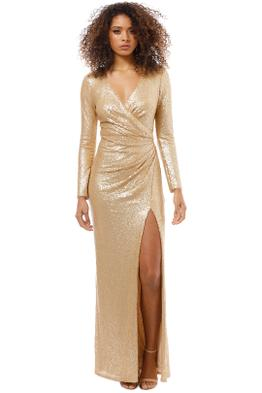 Tadashi Shoji - Angelique Gold Drape Gown - Gold - Front