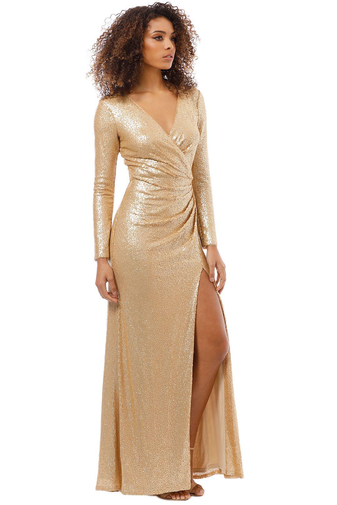 Tadashi Shoji - Angelique Gold Drape Gown - Gold - Side