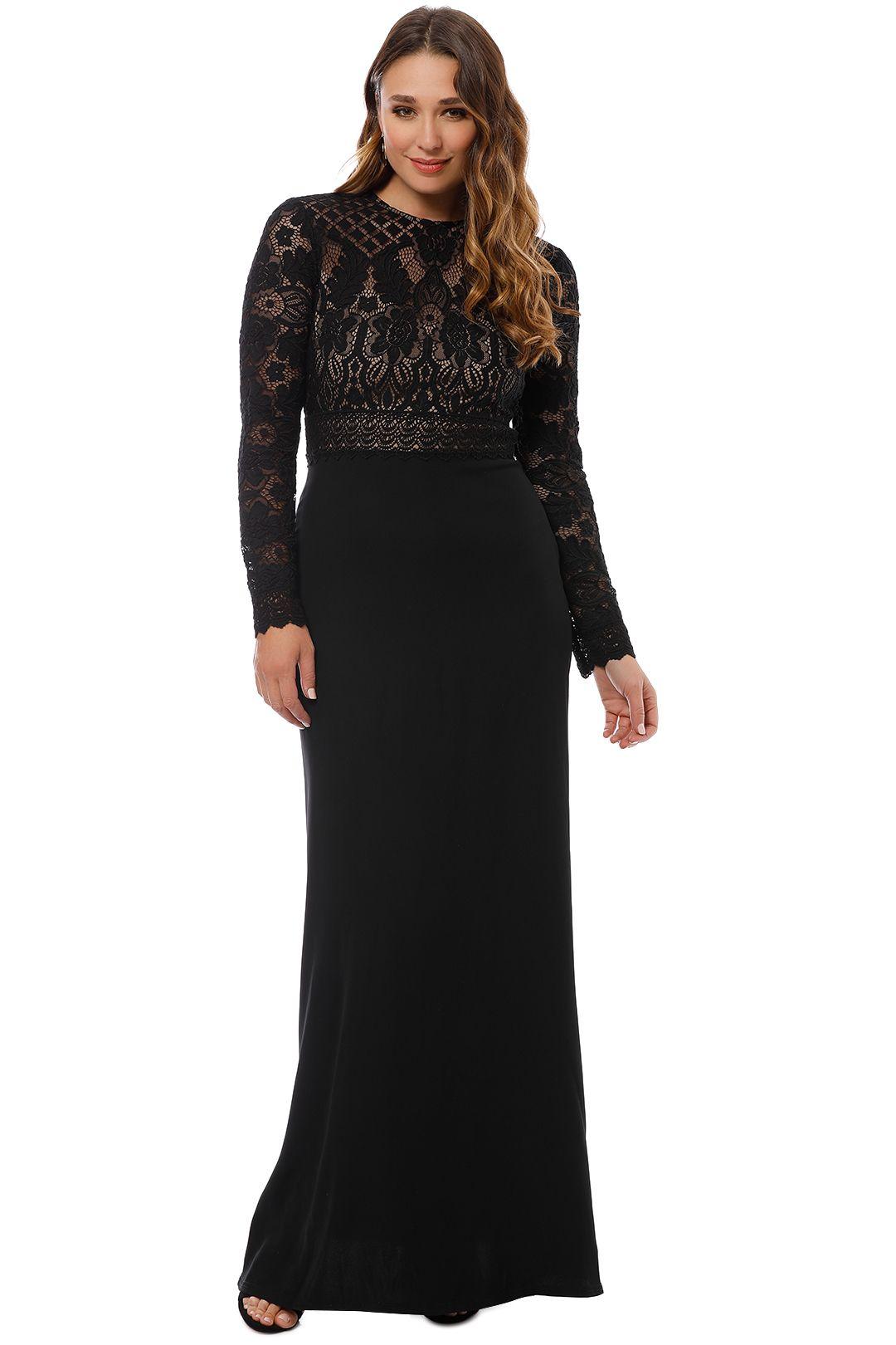 Tadashi Shoji - Benes Long Sleeve Gown - Black - Front