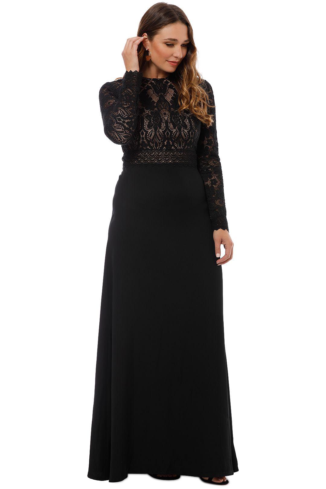 Tadashi Shoji - Benes Long Sleeve Gown - Black - Side