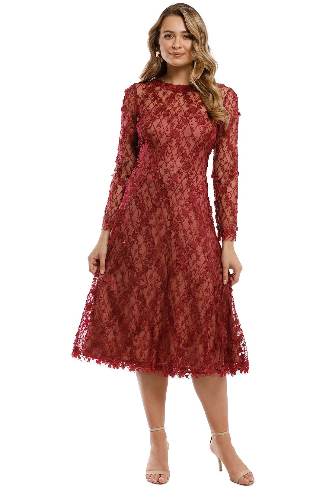 Tadashi Shoji - Binx Embroidery Tea-Length Dress - Roseberry - Front