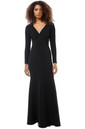 Tadashi Shoji - Elias Long Sleeve Pintuck Gown - Black - Front